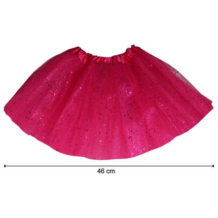 TUT-004 Kinder Tutu Petticoat Unterrock fuchsia Glitzer ca. 46 cm