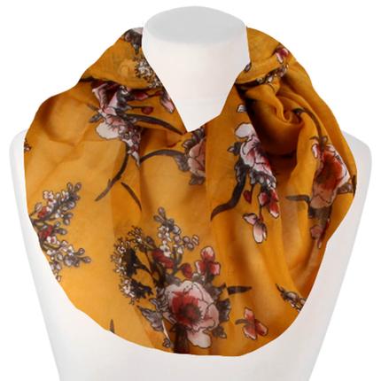 SCH-1800d Damen Schal Loopschal Loop gelb Blumen floral