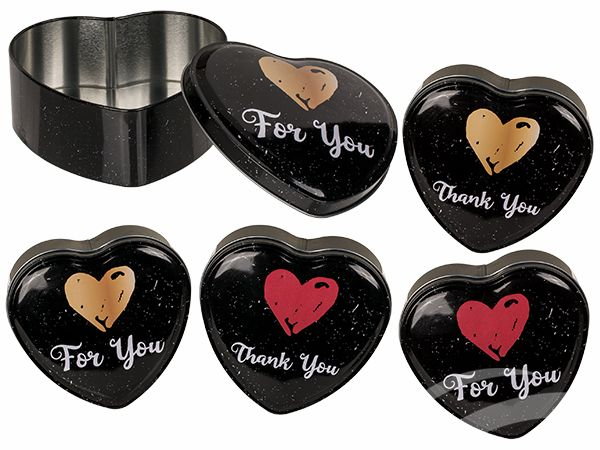 101957 Herzförmige Metall-Dose, For you & Thank you, ca. 12 cm, 2-fach & 2-farbig sortiert