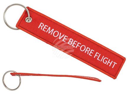 12-0063 Metall-Schlüsselanhänger mit Textil-Anhänger, Remove before flight, ca. 13 cm