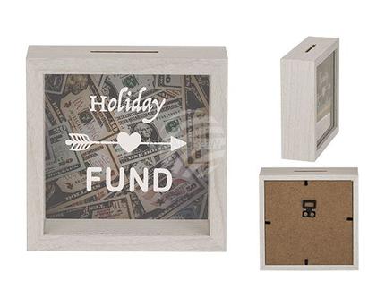 144319 Weiße Holz-Spardose, Holiday Fund,  ca. 15  x 15 cm