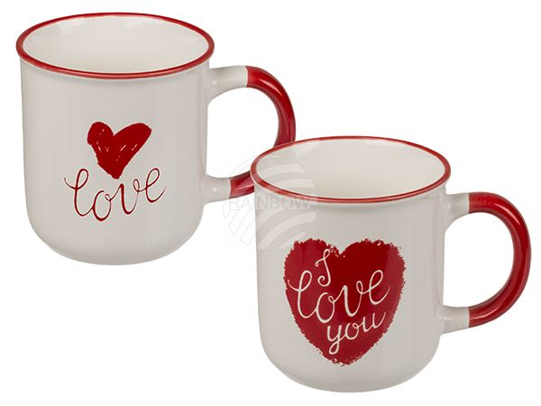 101960 New Bone China-Becher, Rotes Herz & I love you, ca. 7,5 x 8 cm, 2-fach sortiert