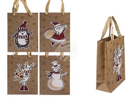 960183 Kraftpapier-Geschenktüte, 3D Weihnachtsmotive,  ca. 18 x 8 x 24 cm, 4-fach sortiert, 12 Stück im Polybeutel