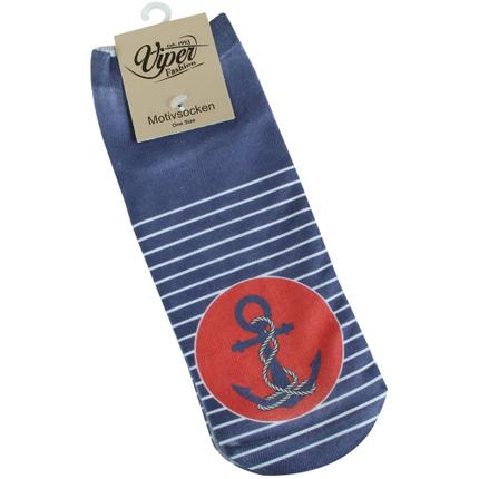 SO-L247 Motiv Socken Anker Streifen maritim blau