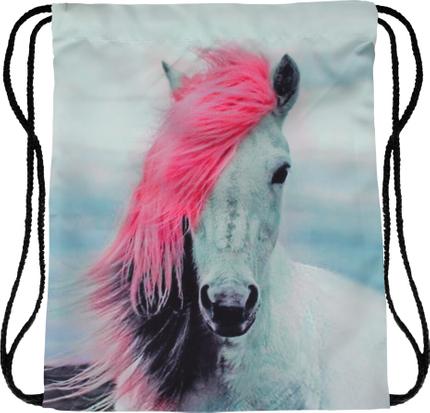 RU-x492 Gymbag Gymsac Rucksack multicolor Pferd mit pinker Mähne 100% Polyester