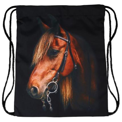 RU-x503 Gymbag Gymsac Rucksack schwarz Pferd 100% Polyester