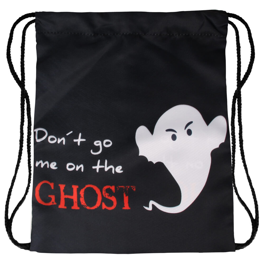 RU-x507 Gymbag Gymsac Rucksack schwarz Geist Spruch  Don't go me on the ghost' 100% Polyester