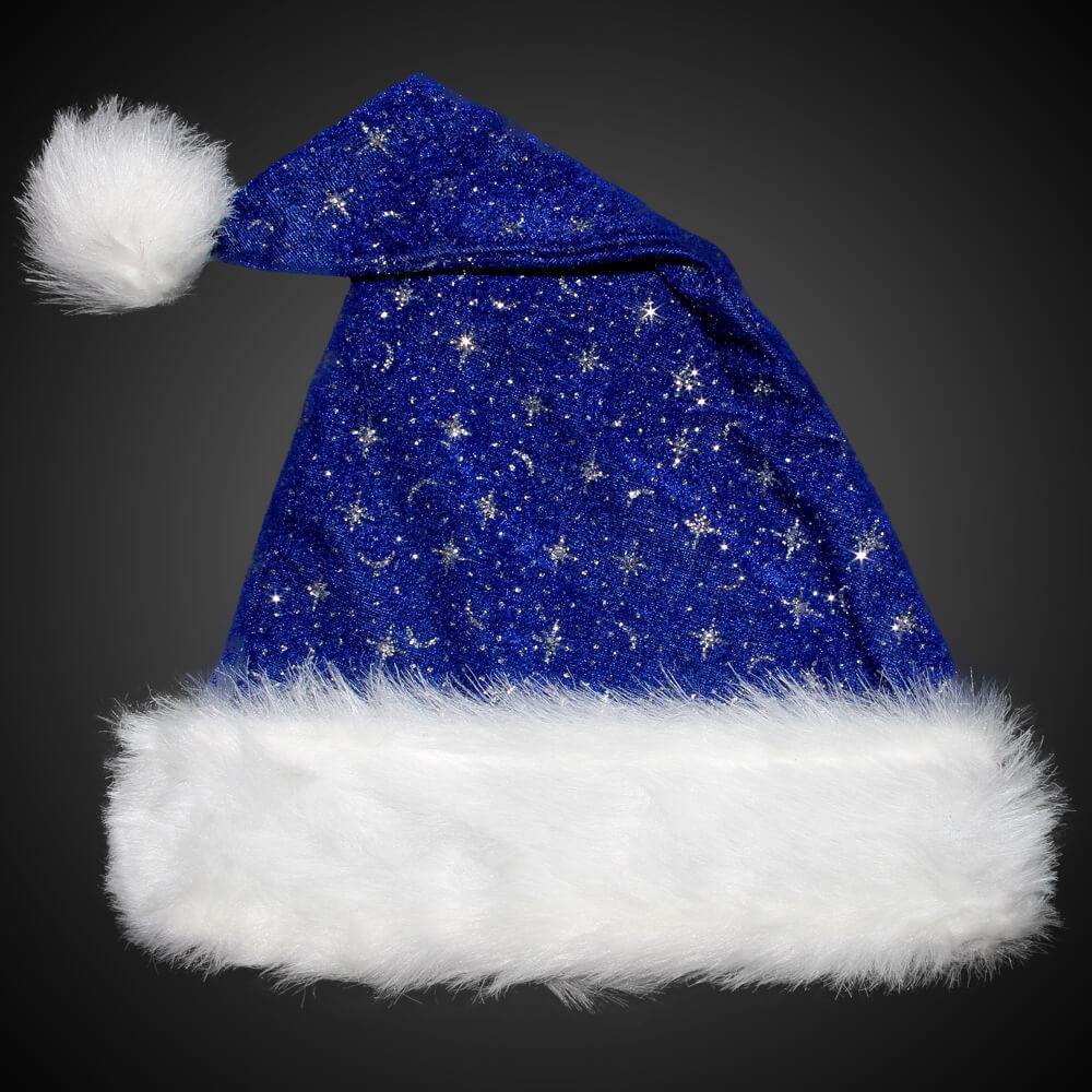 WM-02 Weihnachtsmützen Nikolausmützen blau mit Pelzrand und Glitzer