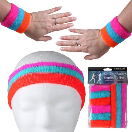SBA-01 Schweißband Kopfband Set neon pink blau rot gestreift