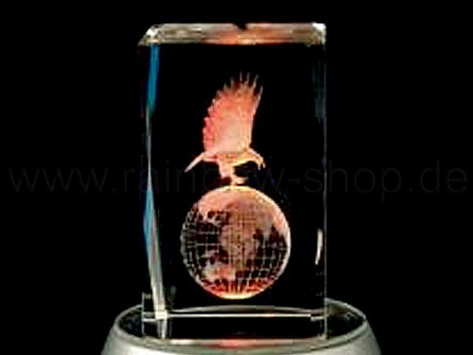 KQ-053 Kristall Quader Motiv: Adler, Globus Farbe: klar – Bild 1