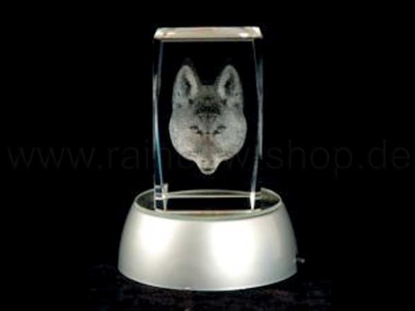 KQ-062 Kristall Quader Motiv: Hund Farbe: klar