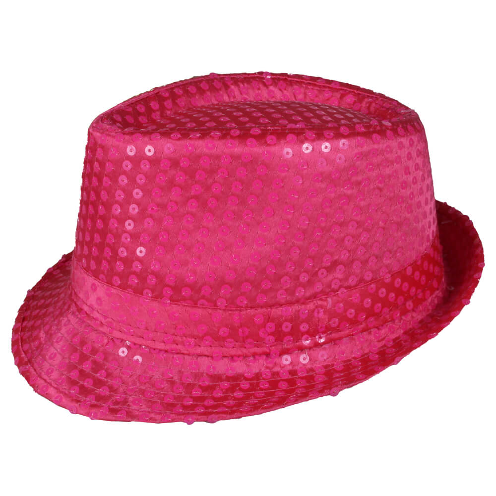 TH-100 Trilby Hut pink mit Pailletten