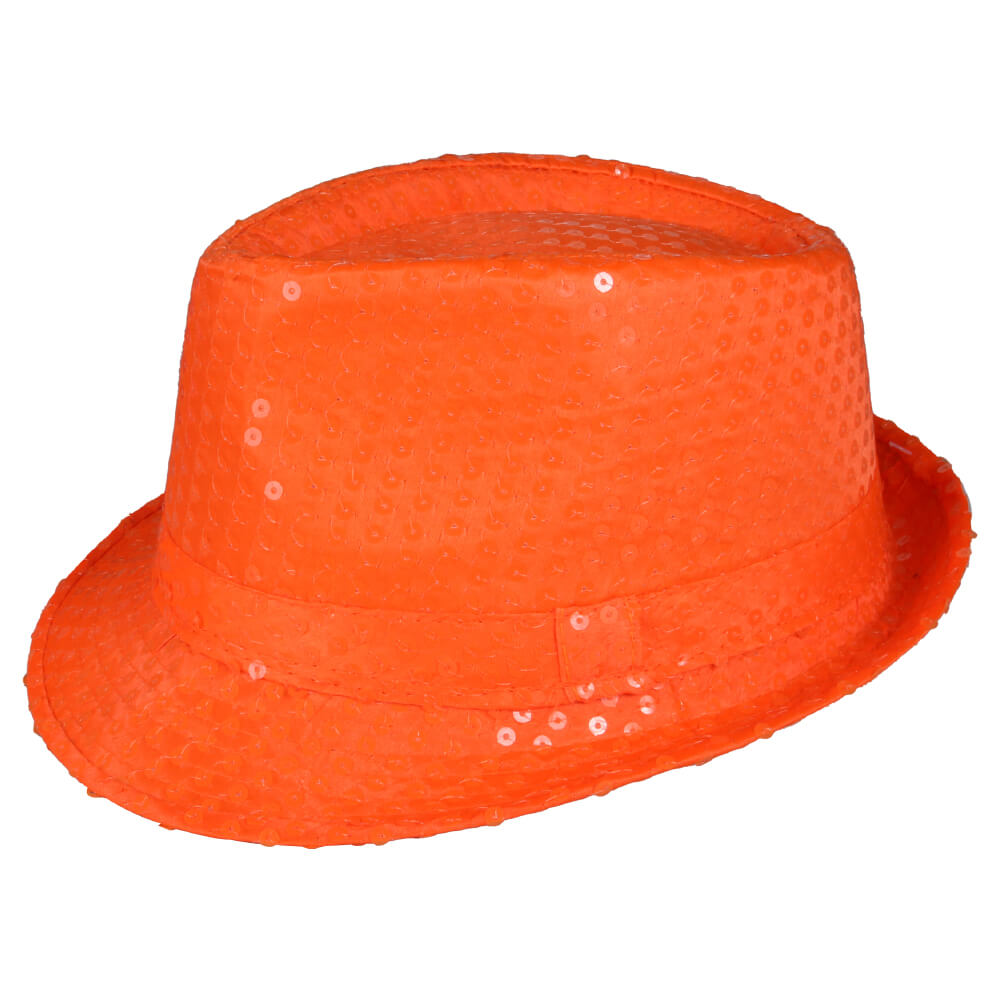 TH-104 Trilby Hut orange mit Pailletten