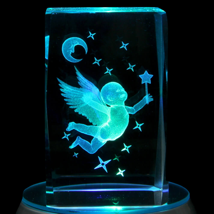 KQ-068 Kristall Quader Motiv: Mond, Sterne, Fee Farbe: klar