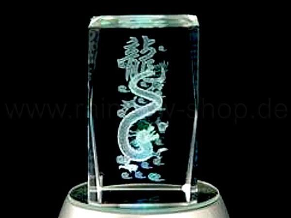 KQ-075 Kristall Quader Motiv: chinesischer Drache, Schriftzeichen Farbe: klar