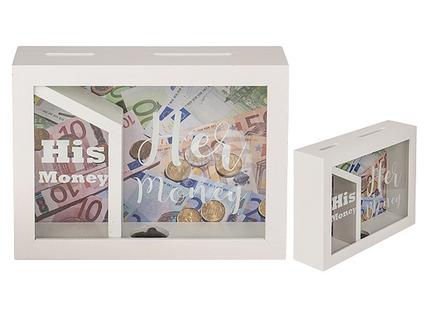 144318 Weiße Holz-Spardose mit 2 Fächern, His money & Her money, ca. 20  x 15 cm