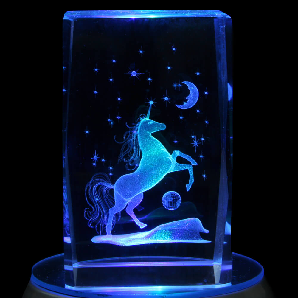 KQ-074 Kristall Quader Motiv: Einhorn, Sterne, Mond Farbe: klar