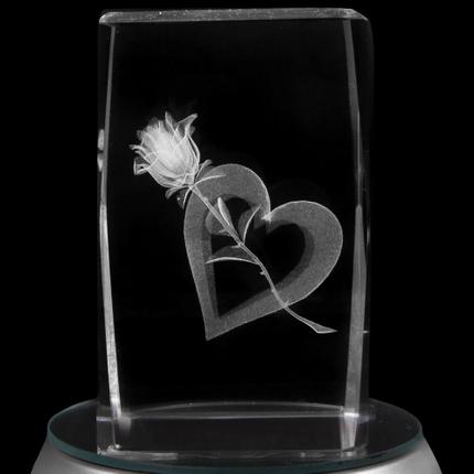 KQ-078 Kristall Quader Motiv: Rose, Herz Farbe: klar – Bild 2