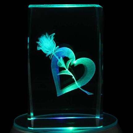 KQ-078 Kristall Quader Motiv: Rose, Herz Farbe: klar