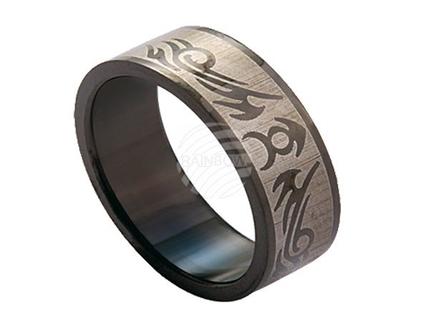 RPVD-07 Edelstahlring mit beschichtetem Motiv schwarz matt Viking