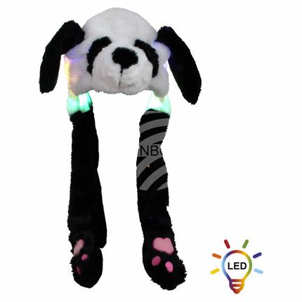 SM-484 Wackelohr Mütze mit LED Beleuchtung Panda, Pandabär Schwarz, Weiß ca. 60 cm x 20 cm
