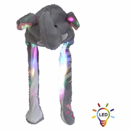 SM-486 LED Wackelohr Mütze Elefant grau weiß ca. 60 cm x 20 cm