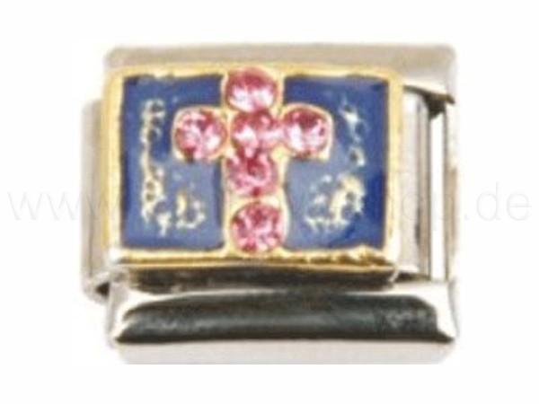 N-068 Italian Charm mit Motiv Kreuz Silber Gold Blau