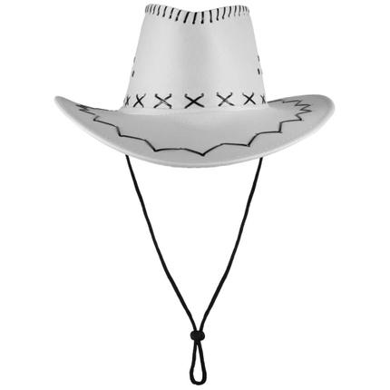 CW-01 Cowboyhut Design: Zick Zack Muster Farbe: weiss – Bild 2