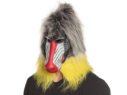 BLD-00165 Latex Kopfmaske Pavian mit Haar