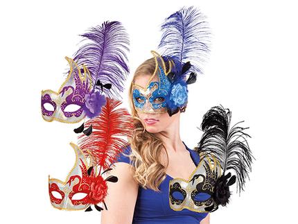 BLD-00340 Augenmaske venezianisch Schwan 4 Farben sortiert