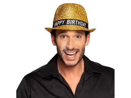 BLD-00941 Hut Glitzernd 'Happy Birthday' gold