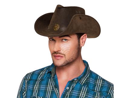 BLD-04352 Cowboyhut Kunstleder mit Stern