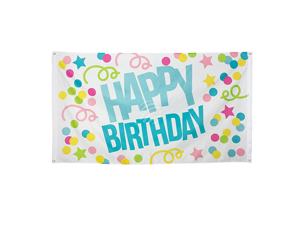 BLD-31001 Polyester Fahne 'Happy Birthday' (90 x 150 cm)