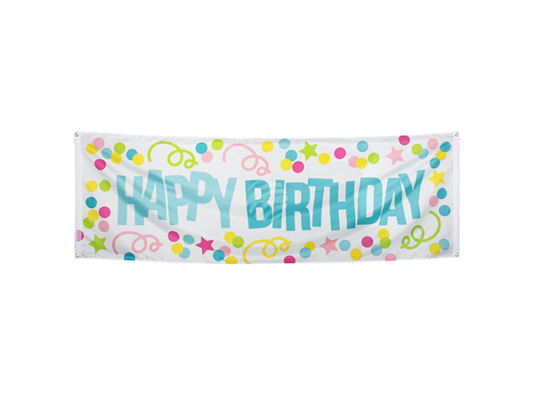 BLD-31002 Polyester Banner 'Happy Birthday' (74 x 220 cm)