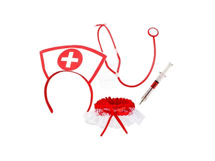 BLD-44803 Krankenschwester (Haarreifen, Stethoskop und Strumpfband mit Spritze/Stift )