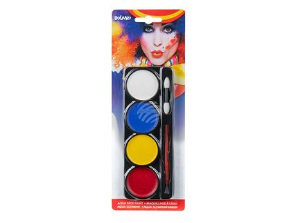 BLD-45063 Palette Clown Aqua Schminkfarben (4 Dosen, Applikator und Pinsel)