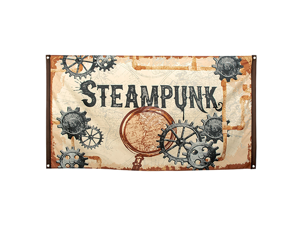 BLD-54551 Polyester Fahne 'Steampunk' (90 x 150 cm)