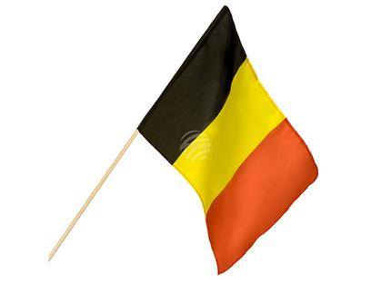 BLD-61909 Polyester Handfahne Belgien (30 x 45 cm / 76 cm)