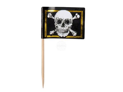 BLD-74119 24 Flaggen-Spiesser Piraten (7 cm)