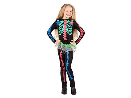 BLD-78013 Kinderkostüm Neon Skelett (7-9 Jahre)