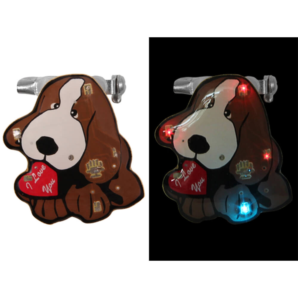 BL-132 Blinki Blinker braun rot weiss Hund  I love you