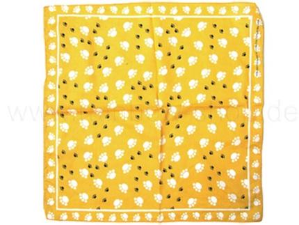 BA-087 Bandana Kopftuch Halstuch Design: Pfoten Farbe: gelb