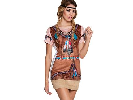 BLD-84185 Fotorealistisches Shirt Indianer squaw (S)