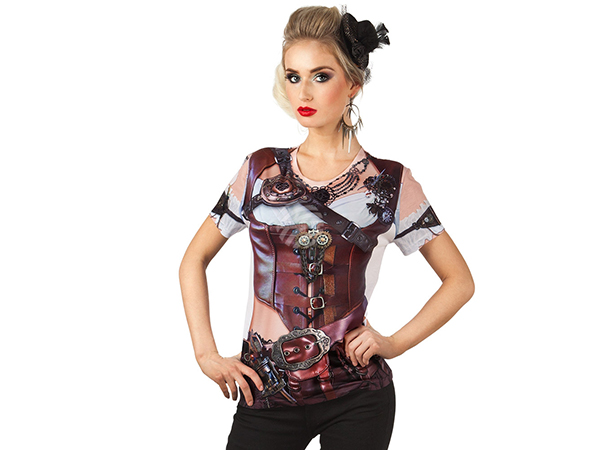 BLD-84290 Fotorealistisches Shirt Mrs Steampunk (S)