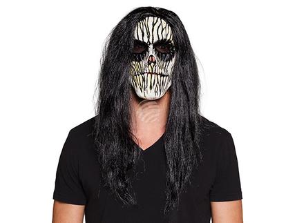BLD-97558 Latex Gesichtsmaske Voodoo mit Haar