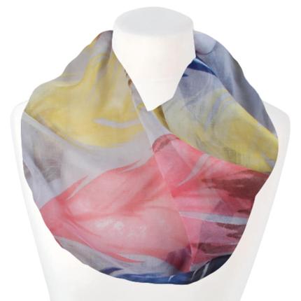 SCH-1901b Damen Schal Loopschal Loop multicolor Federn