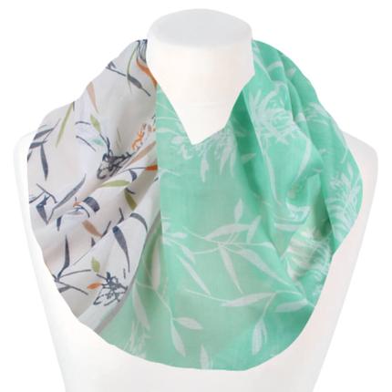 SCH-1912c Damen Schal Loopschal Loop grün Äste Blätter Streifen