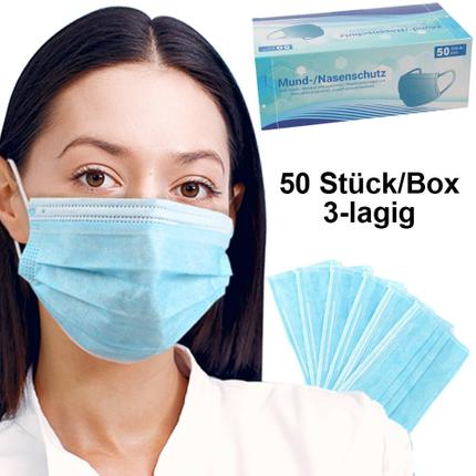 AM-03 Atemschutzmaske Staubmaske Mundschutz Schutzmaske dreilagig blau