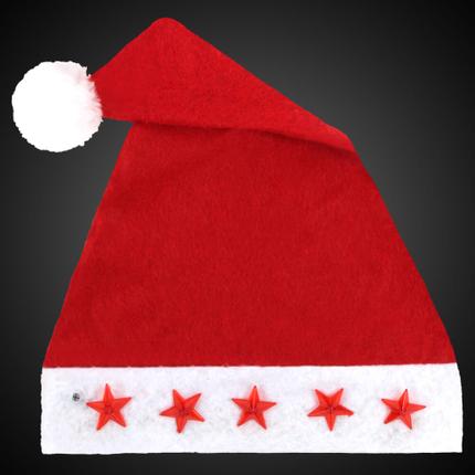 WM-14 Weihnachtsmütze Nikolausmütze aus Plüsch mit 5 Leuchtsternen für Kinder   – Bild 1