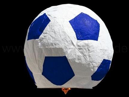 HL-f01 Himmelslaterne blau weiss Motiv:  Fussball